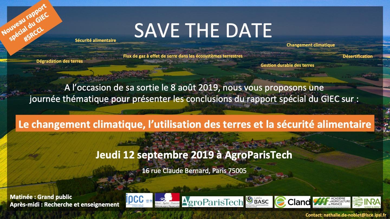 le 12 Septembre 2019, 16 rue Claude Bernard (Paris 5ème) à AgroParisTech: présentation du rapport spécial du GIEC