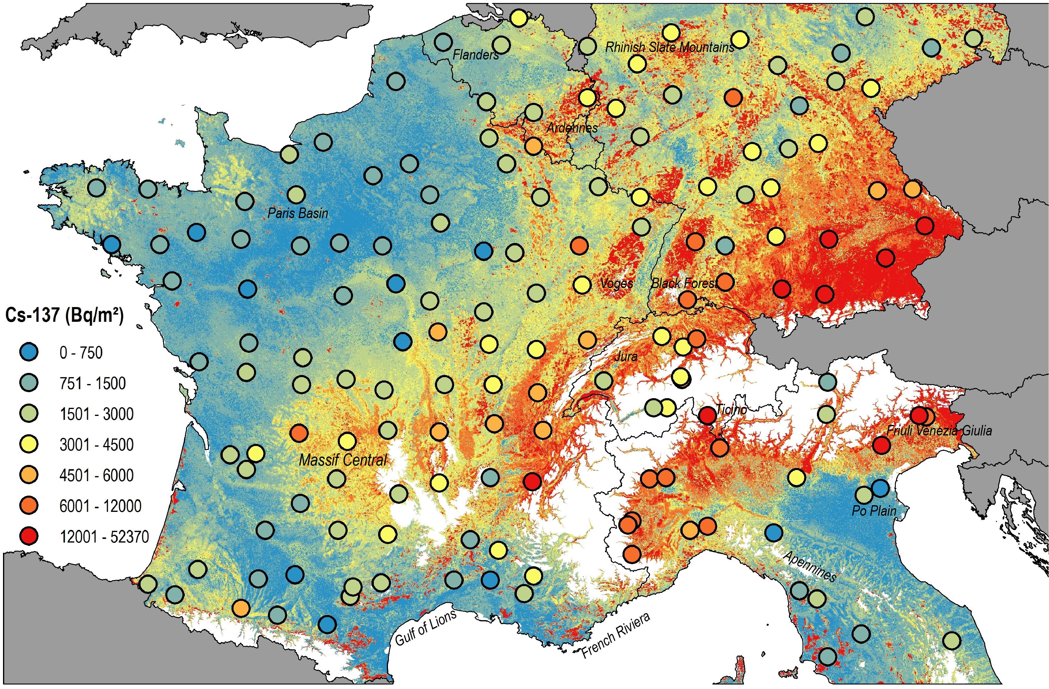 Nouvelle carte de référence des concentrations en radionucléides dans les sols d'Europe occidentale
