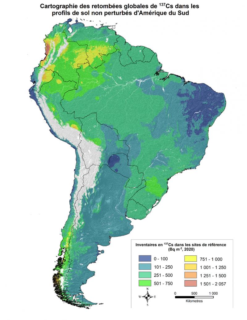 Première carte des retombées radioactives en Amérique du Sud