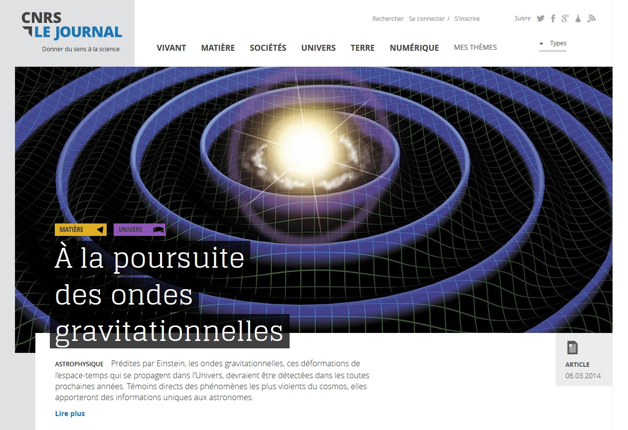 CNRS le journal : très beau nouveau site