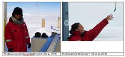 Camille Bréant et Alexandra Touzeau, deux jeunes femmes du LSCE reviennent d'une mission de plus de 2 mois en Antarctique.
